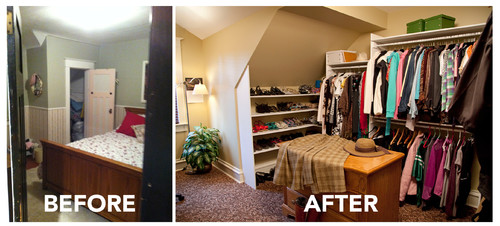 Spare bedroom into a dressing room for Adding a walk in closet