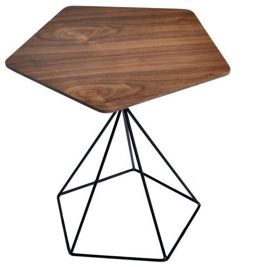 Aliza Mid Century Modern Geometric Pentagonal End Table - Midcentury modern side table