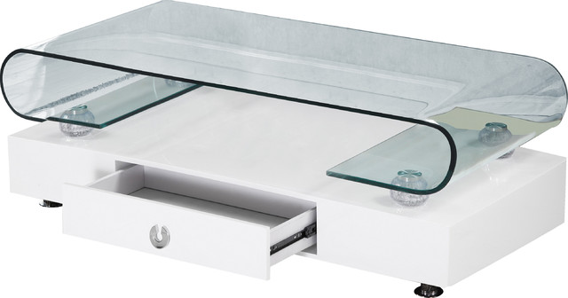 Rectangular Glass Top Coffee Table With Drawer, White, Curved Edge