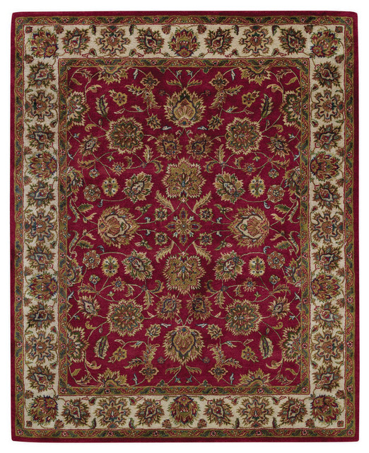 Black And White World Map Rug: Piedmont Persian Hand-Tufted Rectangle Rug, Cinnabar And