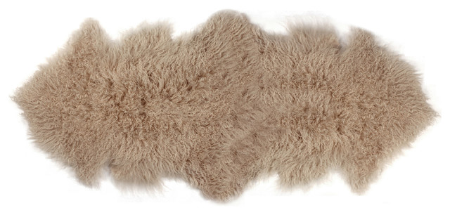 Rockwall Mongolian Sheepskin Faux Fur Double Rug, Tan, 2&x27;x6&x27;.
