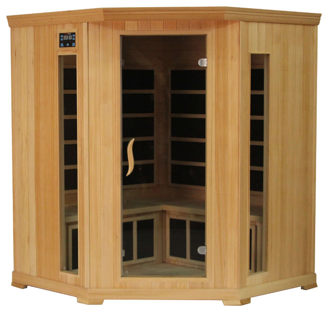 Kericko 4 Person Corner Hemlock Indoor Infrared Sauna Carbon Heater Far.