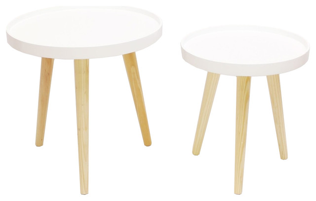 2 Tone Wood 3 Leg Round Tray Top Side Tables Piece Set Midcentury And End By Home Garden Collections