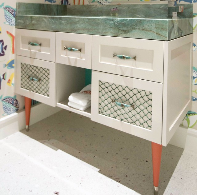 Fort lauderdale home fish themed bathroom beach style for Fish themed bathroom