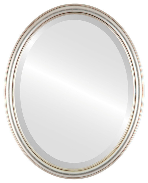 """Saratoga Framed Oval Mirror In Silver Leaf With Brown Antique, 21""""x25""""."""