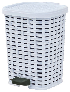 Grey Superio Step-On Trash Can Wicker Style 6 Qt.
