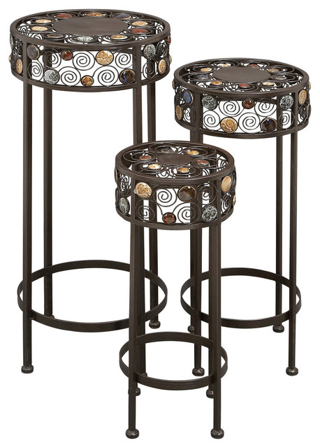 Theodora Round Pedestals Set Of 3 Contemporary Plant