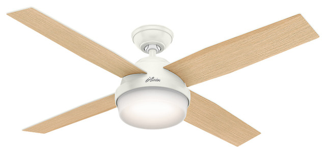 """Hunter 52"""" Dempsey With Light Fresh White Ceiling Fan With Light And Remote."""
