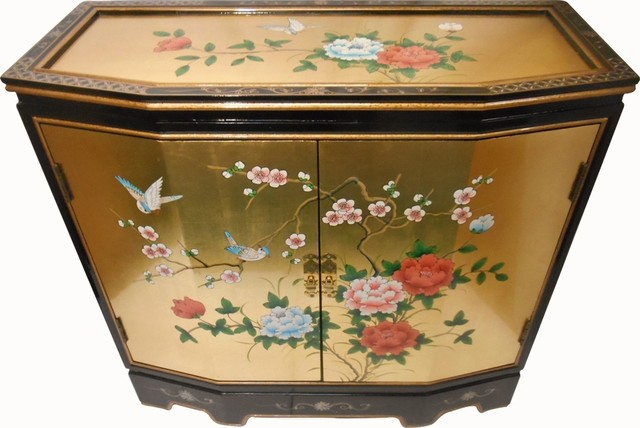 Slant Front Gold Leaf Hand Painted Bird And Flower 2 Door Cabinet Asian