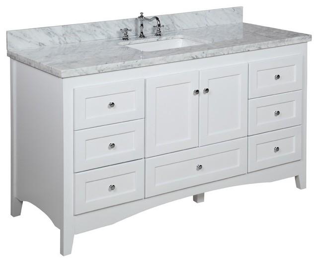 Abbey 60  Bath Vanity  Base  White  Top  Carrara Marble  Single. Abbey 60  Bath Vanity   Contemporary   Bathroom Vanities And Sink