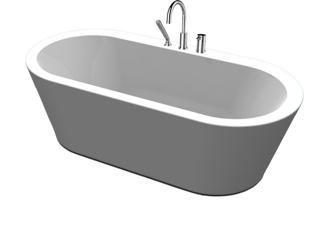 freestanding tub with faucet holes. Una Pure Acrylic 71  All in One Oval Freestanding Tub Kit contemporary