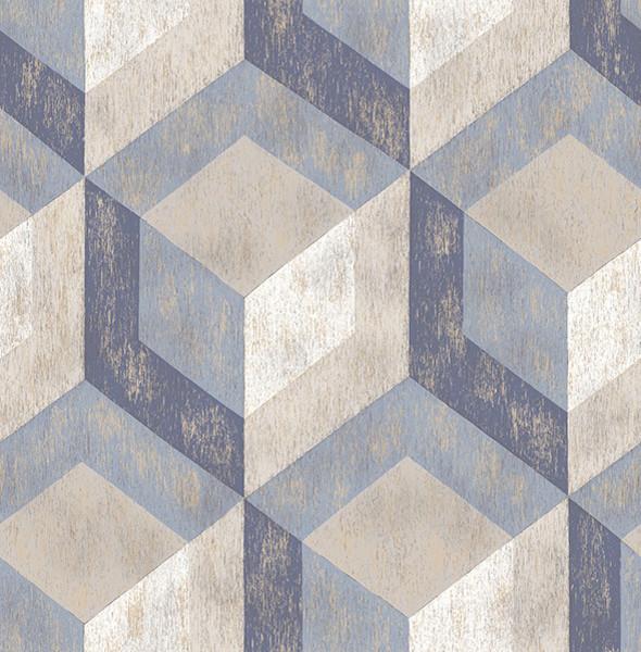 Rustic Wood Tile Blue Geometric Wallpaper, Bolt.