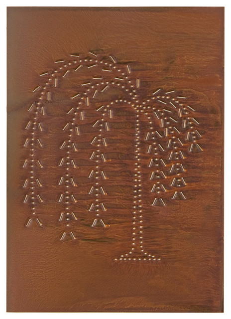 Four Handcrafted Punched Tin Cabinet Panel Primitive Willow Tree Design, Rustic