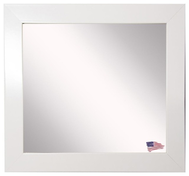 American Made Rayne Glossy White Wall Mirror, 27.5x27.5.
