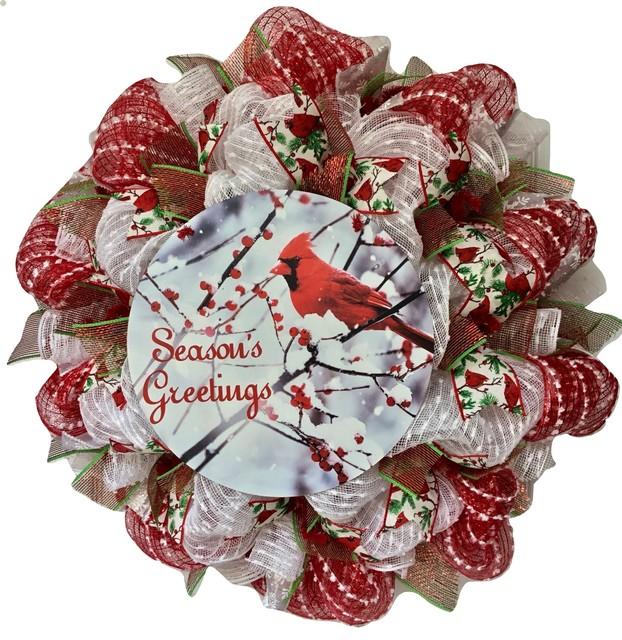 Seasons Greetings Cardinal Handmade Deco Mesh Holiday Wreath.