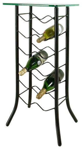 12 bottle wrought iron wine rack with glass top server aged iron