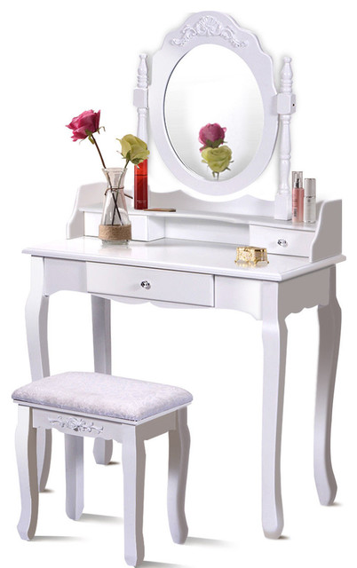 Excellent Costway White Vanity Wood Makeup Dressing Table Stool Set Bathroom Caraccident5 Cool Chair Designs And Ideas Caraccident5Info