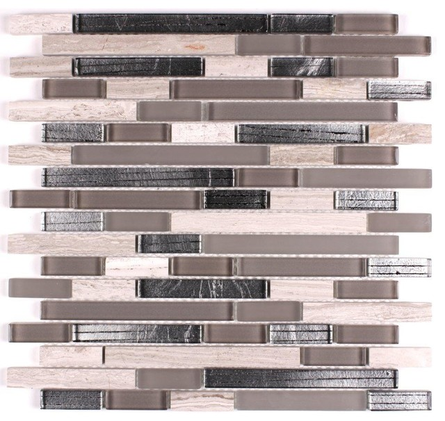 12 X12 Glass And Stone Mosaic Inga Silver Contemporary Mosaic Tile By Fancy Tiles And Mosaics Houzz