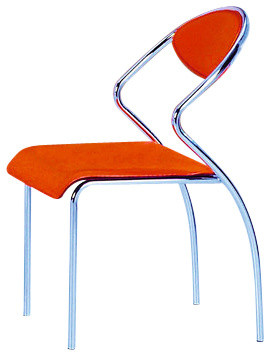 Modern Chrome Dining Chairs, Set Of 4, Orange.