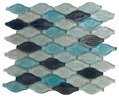 Wavy Shaped Gl Mosaic Tile Dark Blue Turquoise Sky Sample Contemporary