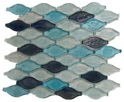 Wavy Shaped Gl Mosaic Tile Dark Blue Turquoise Sky Sample