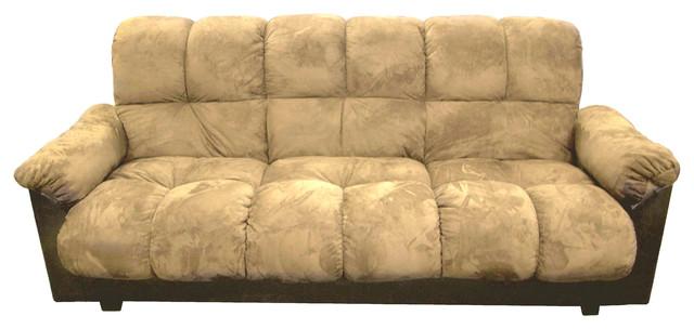 London Storage Futon Sofa Bed With Champion Fabric, Beige Transitional  Futons