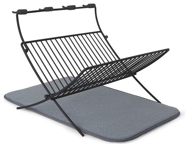 Xdry Folding Dish Rack Charcoal With Drying Mat.