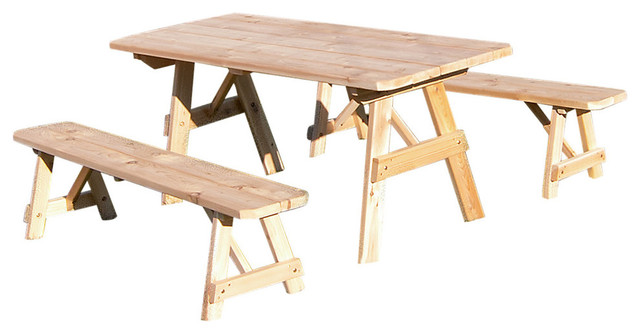 Cedar Foot Traditional Picnic Table With Detached Benches - Unfinished wood picnic table