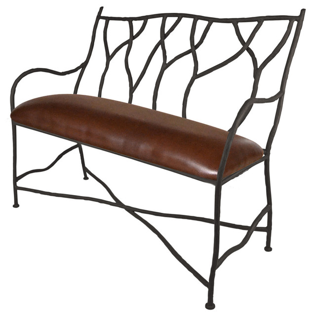 South Fork Bench With Brown Leather Seat.