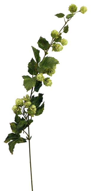 Faux hops flower spray cream 36 artificial plants and for Artificial hops decoration