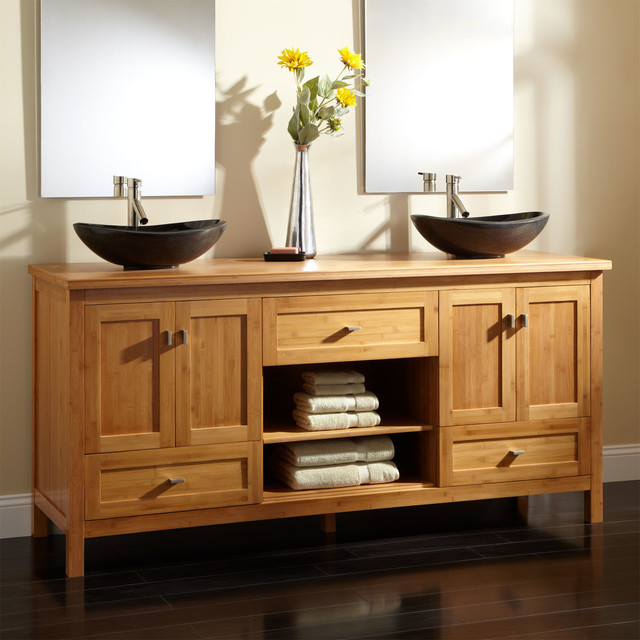 48 ALCOTT BAMBOO DOUBLE VESSEL SINK VANITY Transitional Stunning Bathroom Vanities Cincinnati