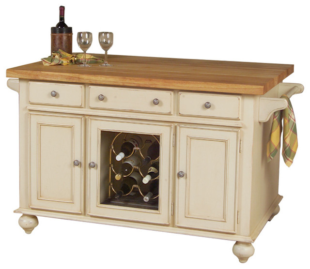 "Kaco International, Inc. A La Carte 54"" Kitchen Island, Distressed"