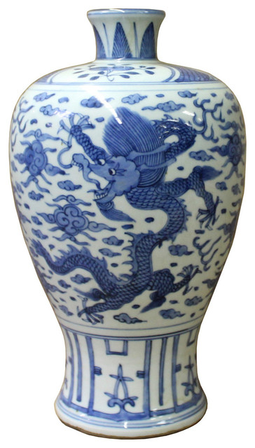 Consigned Chinese Blue White Porcelain Dragon Scenery Meiping Plum Vase