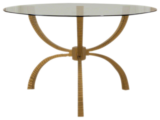 Minimalist Gold Iron Round Gl Dining Table 6 Seater Tripod Rustic Entry