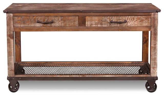 Swell Addison Loft Rustic Solid Wood Sofa Table Console Table On Casters Inzonedesignstudio Interior Chair Design Inzonedesignstudiocom