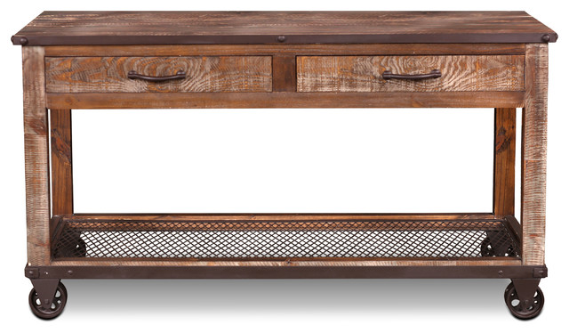 Addison Loft Rustic Solid Wood Sofa Table/Console Table On Casters  Industrial Console