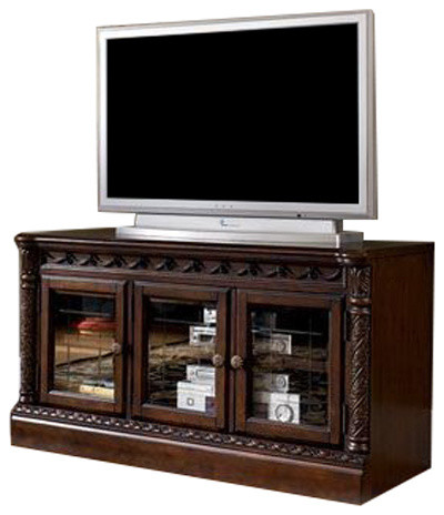 Ashley D Medium Tv Stand North Shore Dark Brown Traditional
