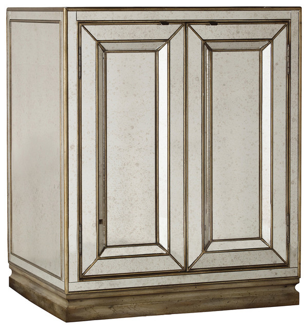 Sanctuary Two Door Mirrored Nightstand Visage  Traditional Nightstands And Bedside Tables