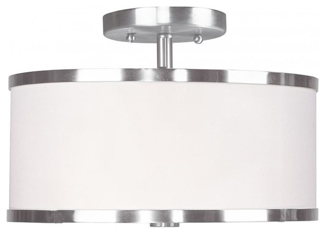 Brushed Nickel Drum Shade Semi-Flush Mount.