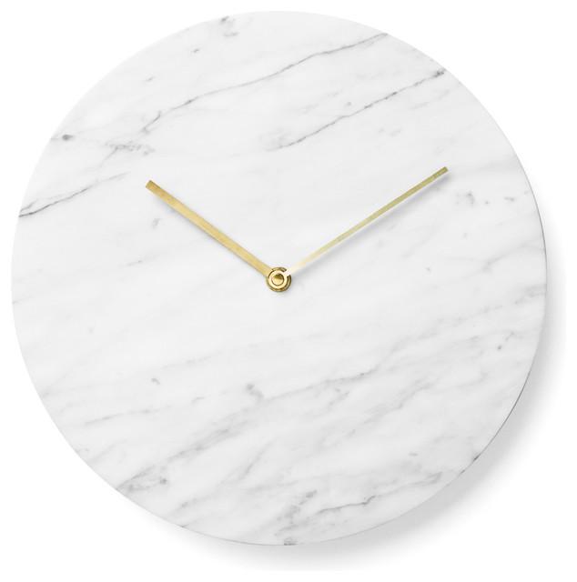 Superb Modern White Clock Part - 3: Marble Wall Clock, Matte White Contemporary-wall-clocks
