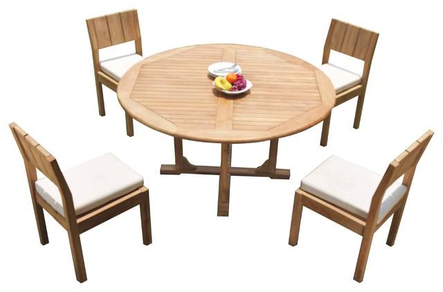 5-Piece Outdoor Patio Teak Dining Set: 60\