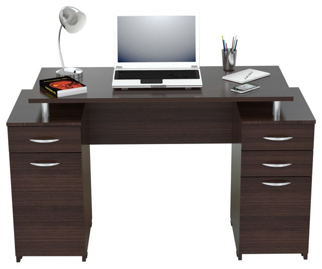 Inval Computer Desk With 4 Drawers Espresso Wengue