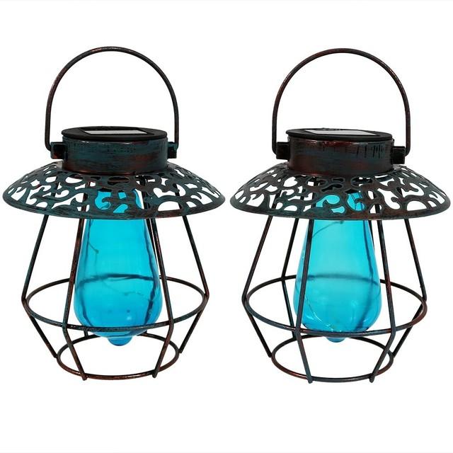 Sunnydaze Vintage Caged Solar Lanterns, Set Of 2, Blue Glass/patina Frame.