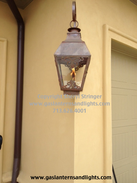 Sheryl's French Style Gas Lantern with Solid Top and Window Scrolls