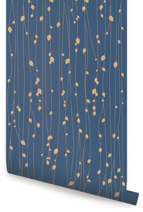 Leaves Reusable Wallpaper, Navy, 1 Sheet