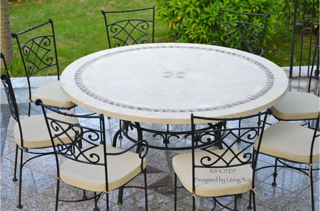 Imotep 49 63 Round Marble Mosaic Stone Garden Patio Table Craftsman