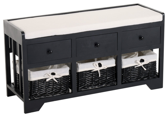 3 Drawer 3 Basket Padded Storage Bench Black Beige