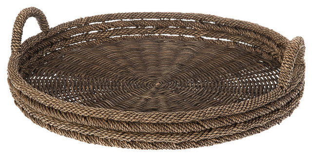 Round Serving Tray in Lampakanay and Wicker
