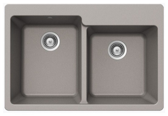 Sleek Chrome Quartz Composite 60 40 Double Bowl Undermount Drop In Kitchen Sink