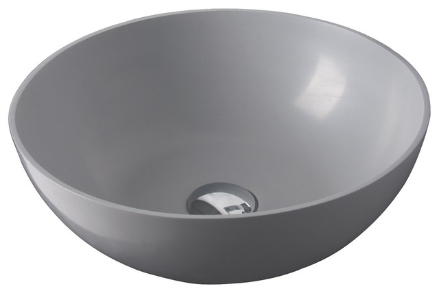 Id Solid Surface 15 Vessel Sink Bowl Above Counter Light Gray